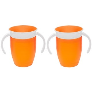 Munchkin Miracle 360 Orange Plastic 7-ounce Trainer Cups (Set of 2)