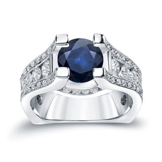 Auriya 14k Gold 2ct Blue Sapphire and 1 1/4ct TDW Diamond Engagement Ring (H-I, SI1-SI2)