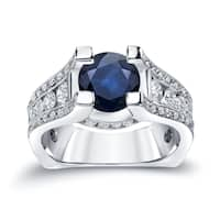 Auriya 14k Gold 2ct Blue Sapphire and 1 1/4ct TDW Diamond Engagement Ring