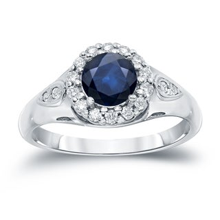 Auriya 14k Gold 1ct Blue Sapphire and 1/4ct TDW Diamond Halo Engagement Ring (H-I, SI1-SI2)
