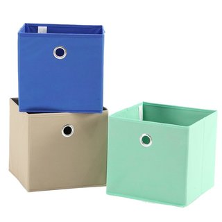 StorageManiac 3-Pack Foldable Fabric Storage Bins, Soft Storage Cubes in Aqua, Blue, and Brown