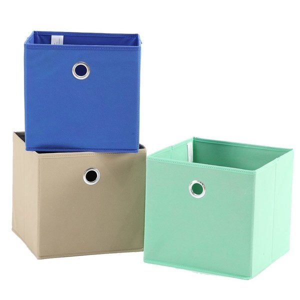 StorageManiac 3 Pack Foldable Fabric Storage Bins, Soft Storage Cubes In  Aqua, Blue