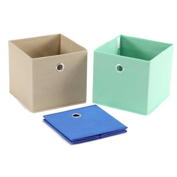 Superior StorageManiac 3 Pack Foldable Fabric Storage Bins, Soft Storage Cubes In  Aqua, Blue, And Brown   Free Shipping On Orders Over $45   Overstock.com    21501861