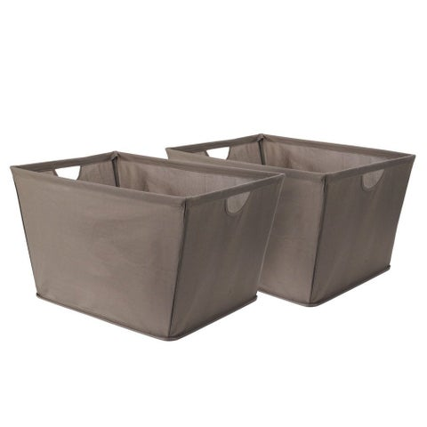 StorageManiac 2-Pack Wire Frame Folding Canvas Storage Bin with Built-in Handles, Brown, Large