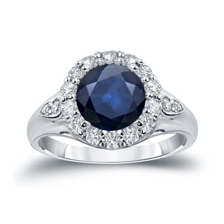 Auriya 14k Gold 2 1/2ct Blue Sapphire and 7/8ct TDW Diamond Halo Engagement Ring (H-I, SI1-SI2)