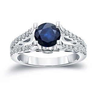 Auriya 14k Gold 1ct Blue Sapphire and 1/2ct TDW Diamond Engagement Ring (H-I, SI1-SI2)