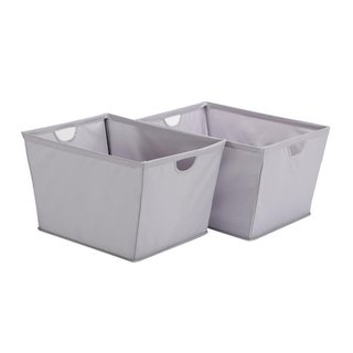 StorageManiac 2-Pack Large Wire Frame Folding Storage Basket, Durable Open Tapered Storage Bin with Built-in Handles, Grey
