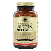 Solgar Biotin 5000 mcg Supports Healthy Hair, Skin & Strong Nails (100 Vegetable Capsules)