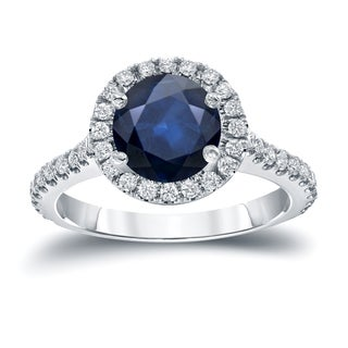 Auriya 14k Gold 2ct Blue Sapphire and 2/5ct TDW Diamond Halo Engagement Ring (H-I, SI1-SI2)