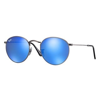 Ray-Ban RB3447 029/17 Uniex Round Gunmetal Frame Blue Flash Lens Sunglasses