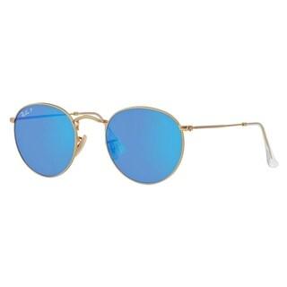 Ray-Ban RB3447 112/4L Unisex Round Gold Frame Polarized Blue Flash Lens Sunglasses
