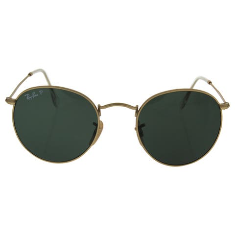 Ray-Ban RB3447 Round Metal Polarized Sunglasses Gold/ Green Classic 50mm - Gold