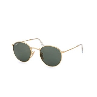 Ray-Ban RB3447 112/58 Unisex Round Gold Frame Polarized Green Classic Lens Sunglasses