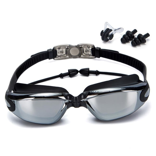 Clear Plastic Anti-fog Swim Goggles with Earplugs, Protection Case, and Nose Clips