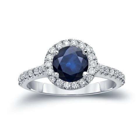 Auriya 14k Gold 1 1/2ct Blue Sapphire and Diamond Halo Engagement Ring 2/5ctw