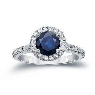 Auriya 14k Gold 1 1/2ct Blue Sapphire and 2/5ct TDW Diamond Halo Engagement Ring (H-I, SI1-SI2)