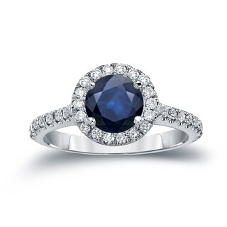 Auriya 14k Gold 1 1/2ct Blue Sapphire and 2/5ct TDW Halo Diamond Engagement Ring