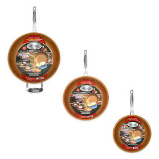 Gotham Steel 3 Piece Fry Pan Set Non-stick Ti Cerama