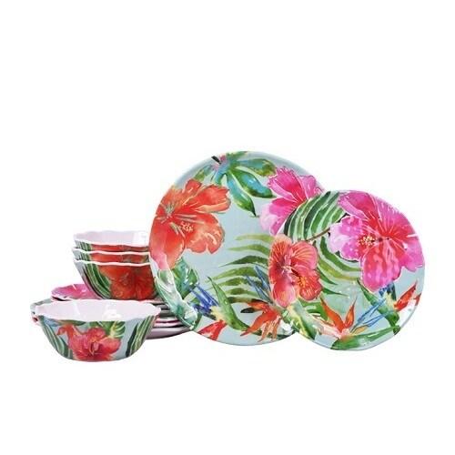 222 Fifth Tropic Vibe 12-piece Dinnerware Set (Tropic Vib...