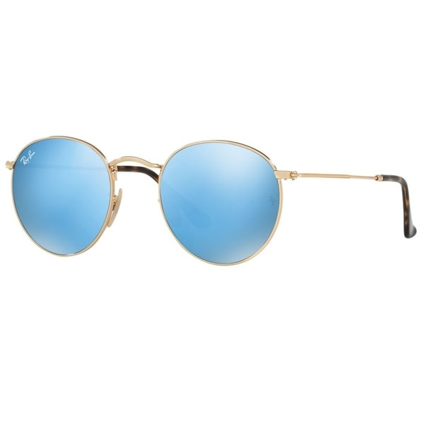 3b8f388279 Ray-Ban RB3447N 001 9O Unisex Round Flat Gold Frame Light Blue Gradient  Flash