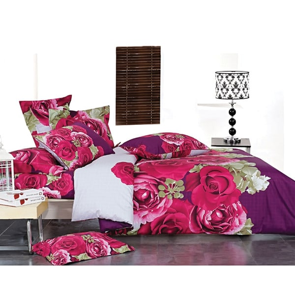 Le Vele Full/ Queen Cotton Floral Duvet Cover 4-piece Set