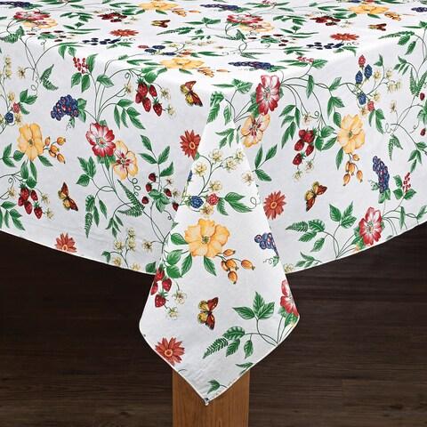 Enchanted Floral Garden Vinyl Tablecloth