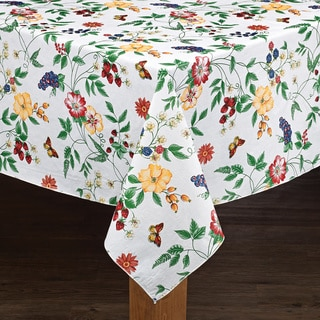 Charmant Enchanted Floral Garden Vinyl Tablecloth