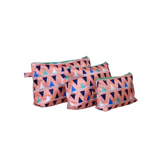 All for Color Sand Castles 3-piece Cosmetic Toiletry Bag Set