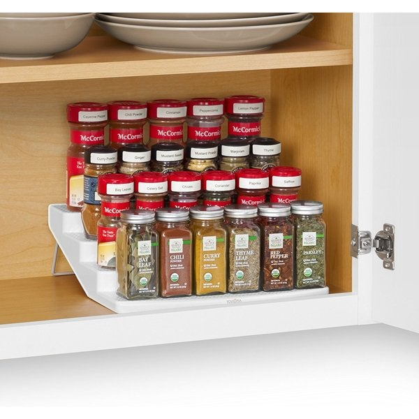 tiered spice racks for kitchen cabinets shop youcopia spicesteps white plastic 4 tier cabinet 27185