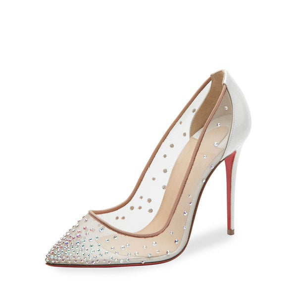 38bf1006d860 Shop Christian Louboutin Follies Strass 100 Nude Swarovski Elements ...