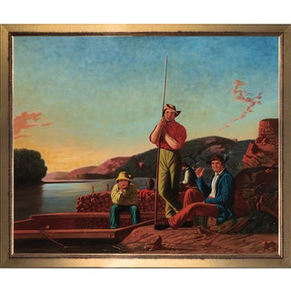 George Caleb Bingham 'The Wood-Boat, 1850' Hand Painted Framed Oil Reproduction on Canvas
