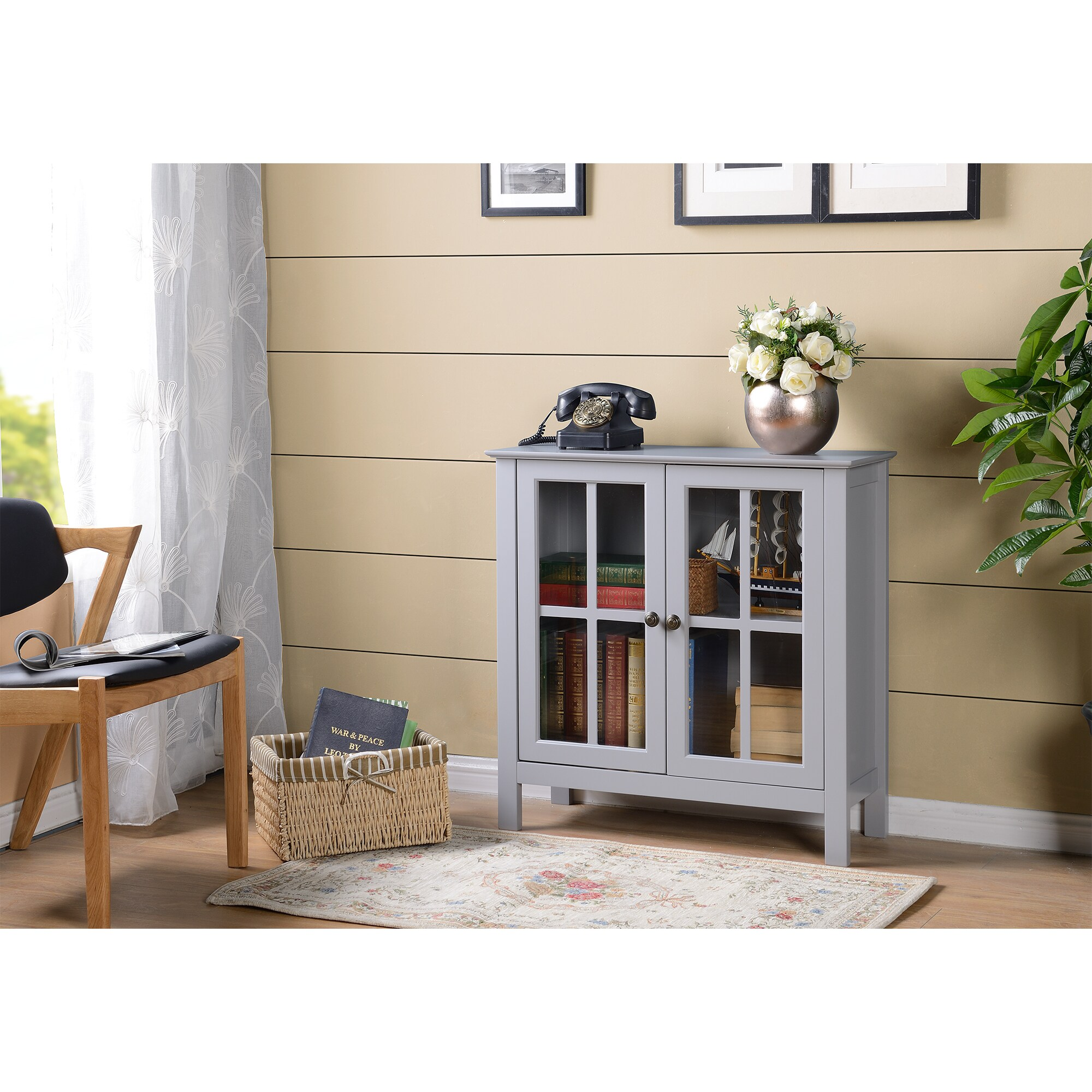 American OS Home and Office Dark Gray Glass Door Accent a...