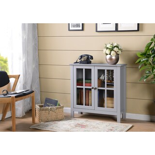OS Home and Office Dark Gray Glass Door Accent and Display Cabinet - Grey