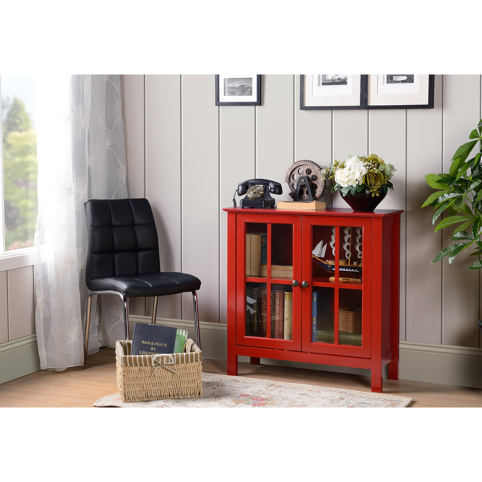 American OS Home and Office Red Glass Door Accent and Dis...