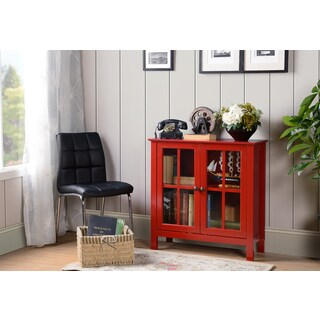 OS Home and Office Red Glass Door Accent and Display Cabinet