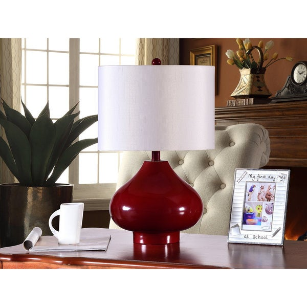 K and B Furniture Co. Inc. Red/White Table Lamps (Set of 2)