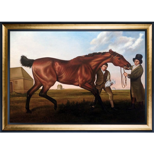 George Stubbs 'Hambletonian, Rubbing Down' Hand Painted Framed Oil Reproduction on Canvas