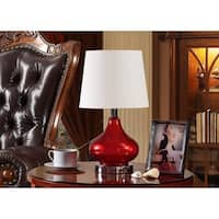 K and B Furniture Co. Inc. Red/Chrome Table Lamps (Set of 2)