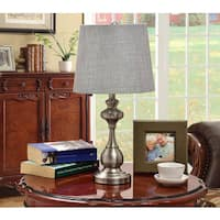 Brushed Nickel Metal Table Lamps with Silver Fabric Shades (Set of 2)