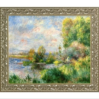 Pierre-Auguste Renoir 'The Seine at Bougival, 1879' Hand Painted Framed Oil Reproduction on Canvas