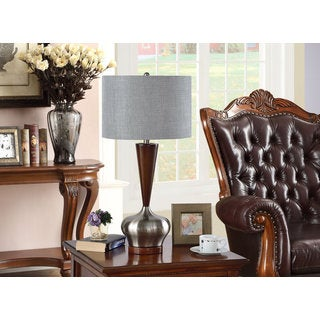 K and B Furniture Co. Inc. Walnut/Brushed Nickel Table Lamps (Set of 2)