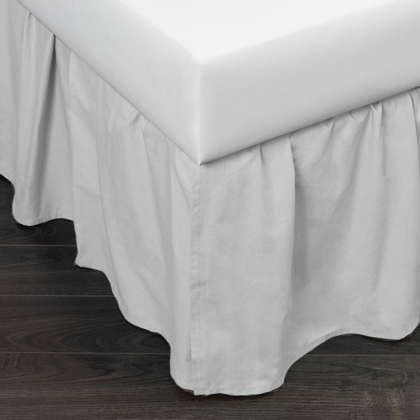 Brighton White Cotton 24-inch Drop Bed Skirt