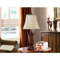 K and B Furniture Co. Inc. Antique Brushed Red/Light Brown Table Lamps (Set of 2)