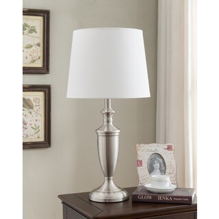 K and B Furniture Co. Inc. Brushed Nickel/White Metal/Fabric Table Lamp (Set of 2)