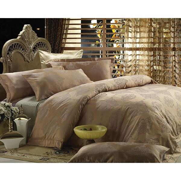 Dolce Mela Jacquard Luxury Linens Bedding Cotton Duvet Cover 6 Piece Set
