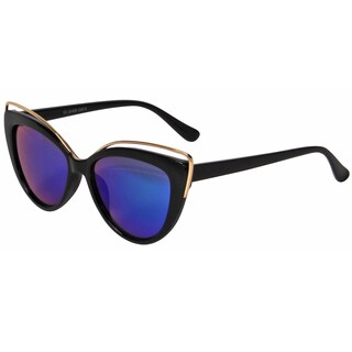 Mechaly Women's MES1801 Cat Eye Style Black Frame with Blue Mirror Sunglasses