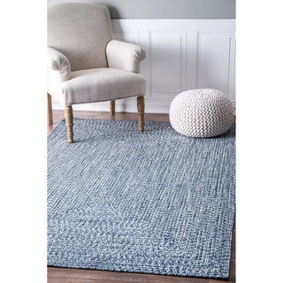 nuLOOM Handmade Casual Solid Braided Light Blue Indoor/Outdoor Rug (4' x 6') - Thumbnail 0