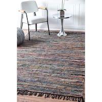 nuLOOM Casual Handmade Flatweave Leather Stripe Tassel Multi Rug (7'6 x 9'6)