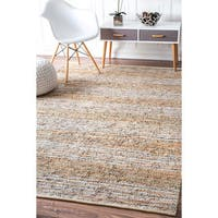 nuLOOM Casual Handmade Flatweave Leather Stripe Beige Rug (7'6 x 9'6)