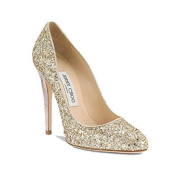 ad3b31f8f589a1 Shop Jimmy Choo 124 Victoria Gold Glitter Pumps - Free Shipping Today -  Overstock - 15003274